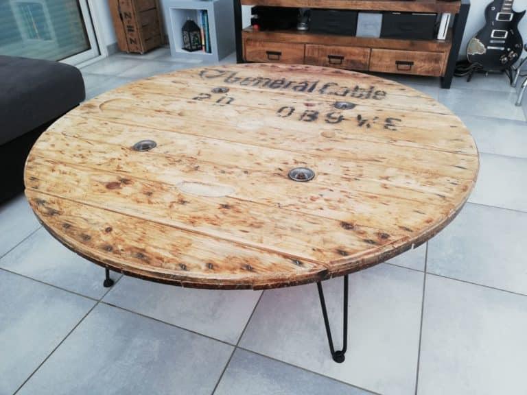 transformer un touret en table basse résultat
